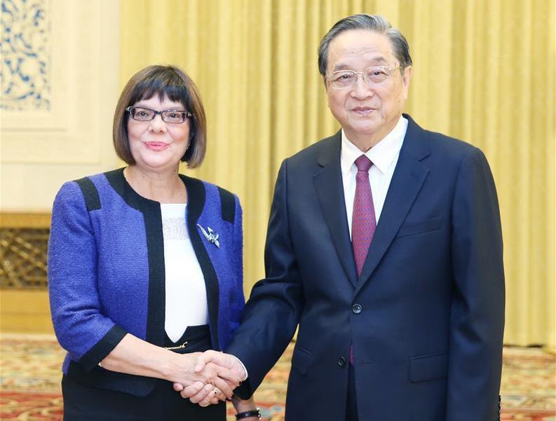 俞正声会见塞尔维亚国民议会议长戈伊科维奇