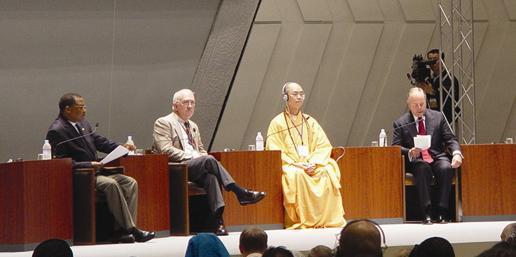 """2005年8月,在日本京都举行的""""世宗和""""第八届大会全会上,中国宗教界和平委员会""""中宗和""""副秘书长学诚代表""""中宗和""""发言。"""