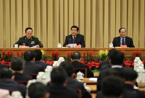 2月29日至3月1日,2012年对台工作会议在北京举行。中共中央政治局常委、全国政协主席贾庆林出席会议并作重要讲话。新华社记者 刘卫兵 摄