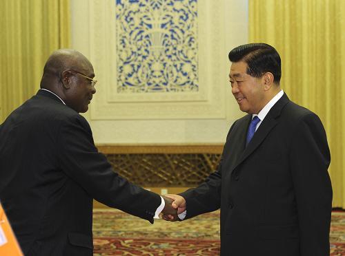 7月9日,全国政协主席贾庆林在北京人民大会堂会见加纳议会第一副议长阿伽霍。新华社记者 饶爱民 摄