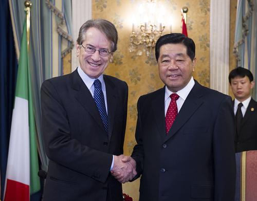 当地时间11月27日,中国全国政协主席贾庆林在罗马会见意大利外长泰尔齐。新华社记者 李学仁 摄