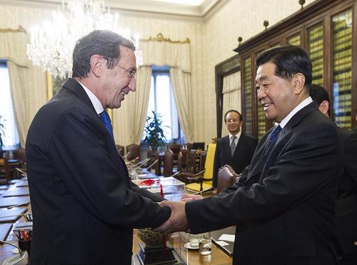 当地时间11月28日,全国政协主席贾庆林在罗马会见意大利众议长菲尼。新华社记者 李学仁 摄