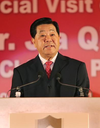 2月6日,全国政协主席贾庆林出席马来西亚华侨华人代表在吉隆坡举行的公宴大会并发表讲话。 新华社记者 姚大伟 摄