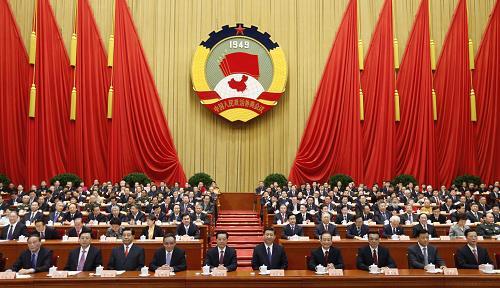 3月3日,中国人民政治协商会议第十二届全国委员会第一次会议在北京人民大会堂开幕。这是胡锦涛、习近平、吴邦国、温家宝、贾庆林、李克强、张德江、刘云山、王岐山、张高丽在主席台就座。新华社记者 鞠鹏 摄