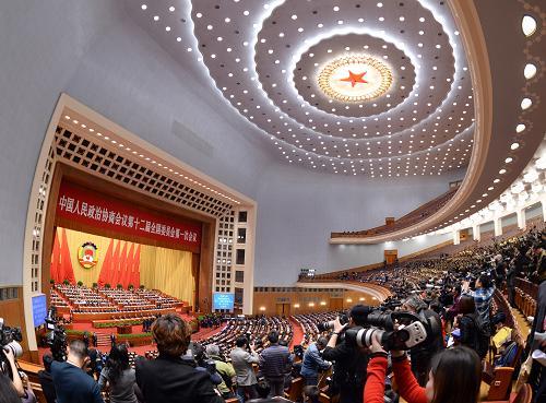 3月3日,中国人民政治协商会议第十二届全国委员会第一次会议在北京人民大会堂开幕。新华社记者王晔摄