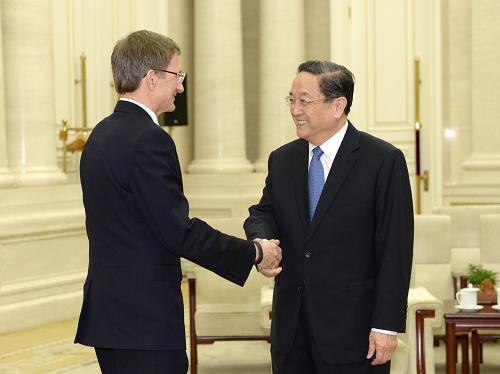 4月25日,中共中央政治局常委、全国政协主席俞正声在北京会见公正俄罗斯党主席、俄罗斯国家杜马副主席列维切夫。新华社记者 马占成 摄